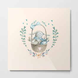 Cute Baby Bunny In a Basket Metal Print
