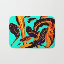Blue Marker Teal Fire Phoenix Bath Mat