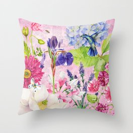English Garden pink Throw Pillow