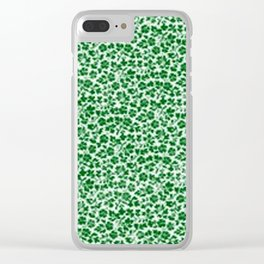 Green Vintage Flowers Clear iPhone Case