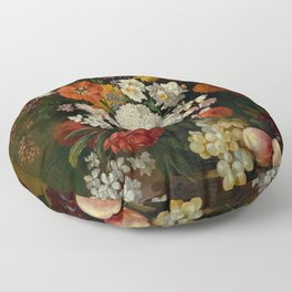 "Philip van Kouwenbergh ""Still life of flowers with roses, peonies, hollyhock, tulips, grapes..."" Floor Pillow"
