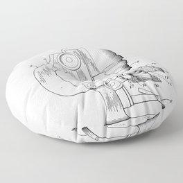 Microscope Patent - Scientist Art - Black And White Floor Pillow