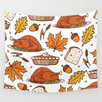 thanksgiving Wall Tapestries featuring thanksgiving by Ceren Aksu Dikenci