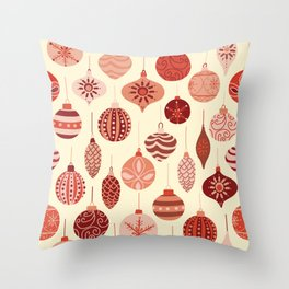 Christmas Ornaments Red Pink Beige Pattern Throw Pillow