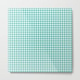 Modern green white checker picnic stripes pattern Metal Print