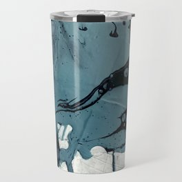 Fortune [5]: A bold, minimal, abstract mixed-media piece in blue and black Travel Mug