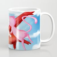 mew Mugs featuring Latias and Mew by CelestKirin