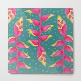 Heliconia on Teal Metal Print