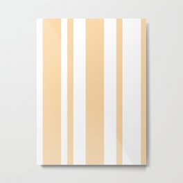 Mixed Vertical Stripes - White and Sunset Orange Metal Print