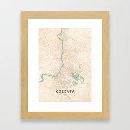 Kolkata, India - Vintage Map Framed Art Print
