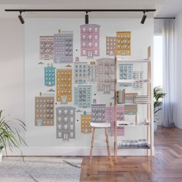 New York Brownstone Architecture - Pastel homes Wall Mural