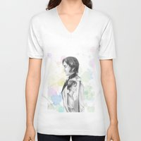 pride and prejudice V-neck T-shirts featuring Pride and Prejudice by Wadart