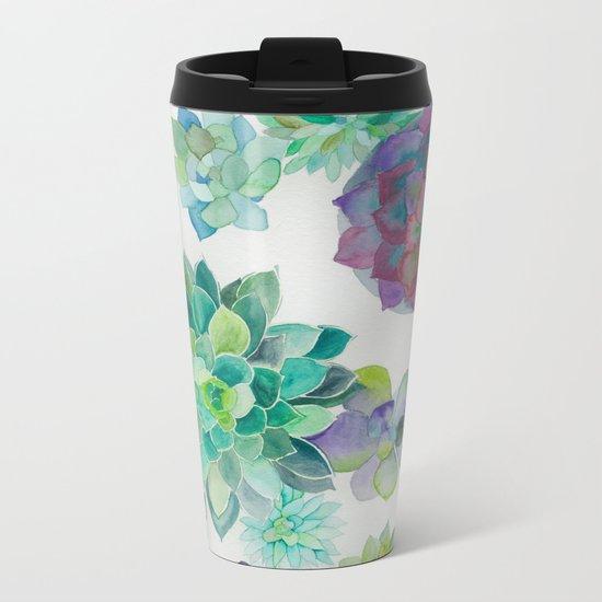 Watercolor Succulents Metal Travel Mug