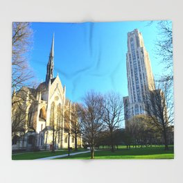 Heinz Chapel and Cathedral of Learning in Pittsburgh 12 Throw Blanket