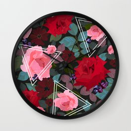 Triangles With Vintage Red Pink Roses and Chocolate Cosmos Flower Pattern Wall Clock