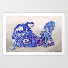 Bobtail Squid Mermaid Art Print