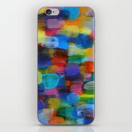 Colorful Abstract Art Brushstrokes in Yellow, Blue, Turquoise iPhone Skin