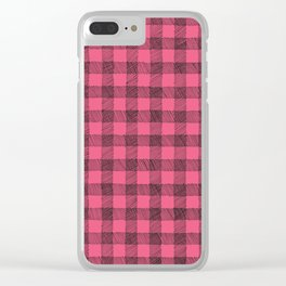 pink and black gingham Clear iPhone Case