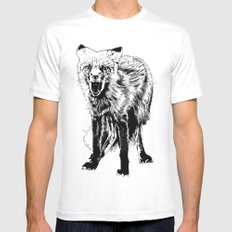 Angry Fox (b&w) White MEDIUM Mens Fitted Tee