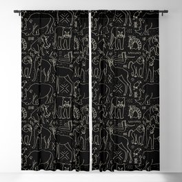 African Animal Mudcloth in Black + Bone Blackout Curtain