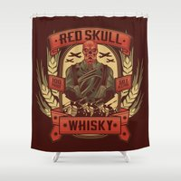 whisky Shower Curtains featuring Red Whisky by Corey Courts