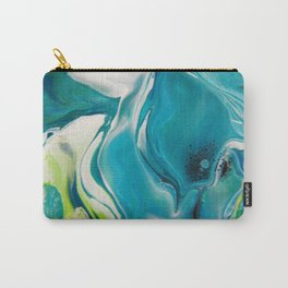 Fluid Nature - Blue Lilies - Acrylic Pour Art Carry-All Pouch
