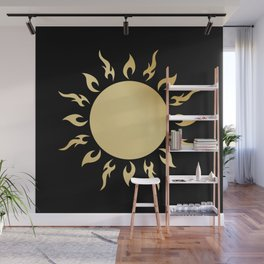 gold sun in black background Wall Mural
