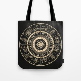 Vintage Zodiac & Astrology Chart | Charcoal & Gold Tote Bag