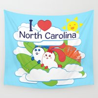 north carolina Wall Tapestries featuring Ernest and Coraline | I love North Carolina by Hisame Artwork