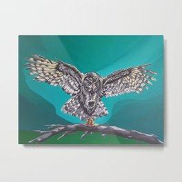 Owl and Mouse Metal Print