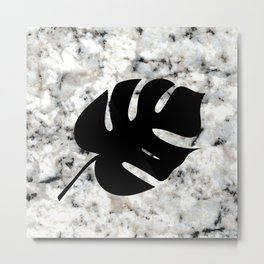 Tropical Leaves on Marble - Monstera II Metal Print