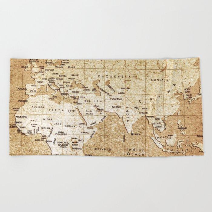 Vintage Map Pattern Beach Towel
