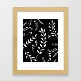 White Leaves Pattern #3 #drawing #decor #art #society6 Framed Art Print