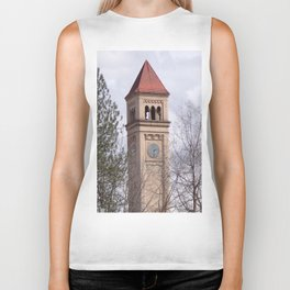 Beautiful Old Clock Tower In Spokane, Washington, Vintage Train Station Clock Tower Biker Tank