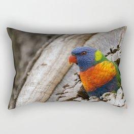 A Rainbow Lorikeet perched in a hollow log. Rectangular Pillow