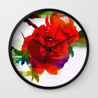 mini Wall Clocks featuring Mini Roses by Christine Belanger
