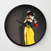 snow white Wall Clocks featuring Snow White by Greg-guillemin