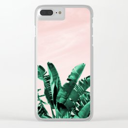 Turquoise Banana and palm Leaves Clear iPhone Case