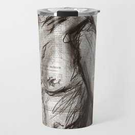 Rain Shower (Regenschauer) Charcoal Newspaper Figure Drawing Travel Mug