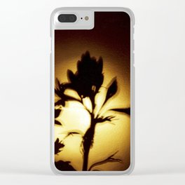 Yellow and Black Floral Shadow Art Print Clear iPhone Case