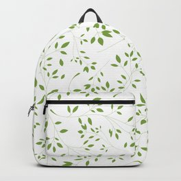 Leaves Pattern in Green & White Backpack