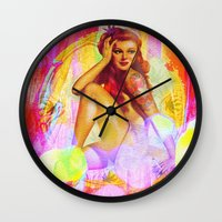 "tatoo Wall Clocks featuring "" Miss tatoo ""  by shiva camille"