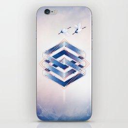 Indigo Hexagon :: Floating Geometry iPhone Skin