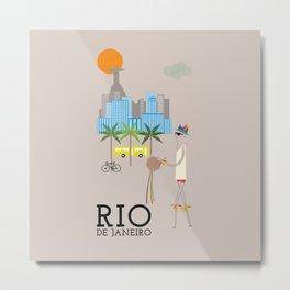 Rio - In the City - Retro Travel Poster Design Metal Print