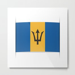 Flag of Barbados. The slit in the paper with shadows. Metal Print