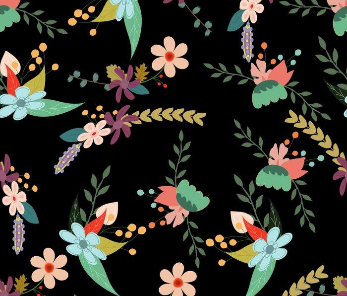 Floral pattern black Metal Travel Mug