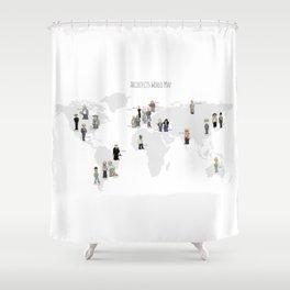 Architects world map Shower Curtain