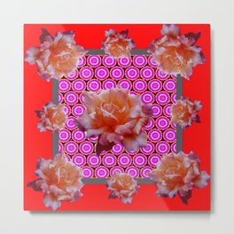 RED ABSTRACT ANTIQUE ROSES FUCHSIA FLORAL Metal Print