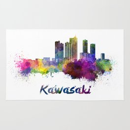 Kawasaki skyline in watercolor Rug