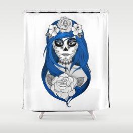 Santa Muerte Blue Shower Curtain